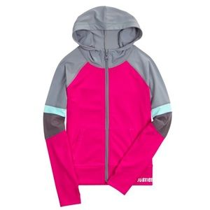 Hoodie Jacket Front Zip Gray Pink Women's